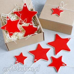 Święta upominki. Gwiazdki - świąteczne zawieszki ceramika