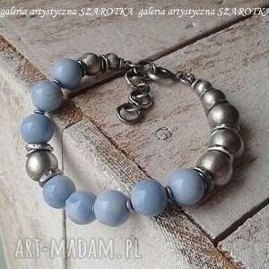 błękit naręczny bransoletka z opala i srebra, opal, srebro oksydowane