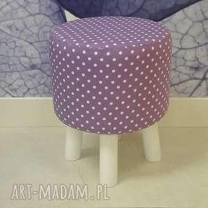 ręcznie zrobione pufa fioletowe grochy - białe nogi 36