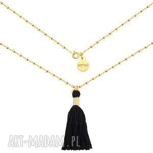 Złoty naszyjnik zdobiony chwostem - ,naszyjnik,kosteczkowy,łańcuszek,chwost,żółte,złoto,