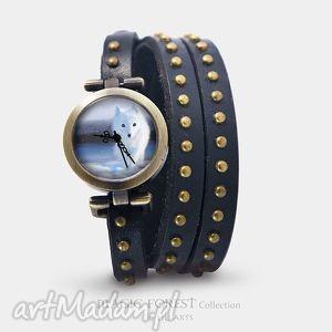 Prezent Bransoletka, zegarek - Biały lis czarny, nity, skórzany, bransoletka