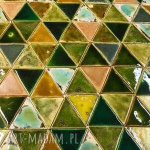 ceramika kafelki zielony las,ręcznie robione zielone i miodowe kafle do kuchni
