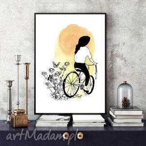 DZIEŃ DOBRY... - ILUSTRACJA A4, grafika, a4, ilutracja, rower, kobieta, akwarela