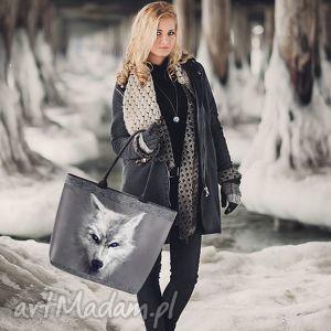 reneedesign white wolf, zfilcu, filcowe, duża, zwilkiem, a4, wilk torebki