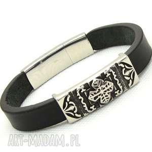 pmpb style krzyż ornament czarna skórzana bransoletka dla mężczyzny ze stalą