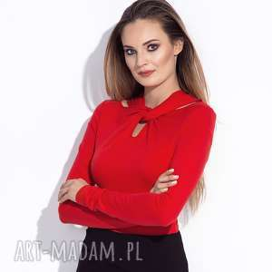 bien fashion ozdobna czerwona bluzka z długim rękawem, przekładana