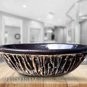 ceramika black shell - artystyczna umywalka nablatowa ze złotą strukturą