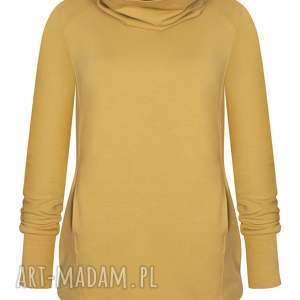 piękna dłufa musztardowa bluzaq- tunika ROLL z golfem, bluza damska tubą, dresowa