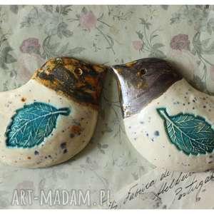 hand-made ceramika para kuchennych ptaszków na ścianę