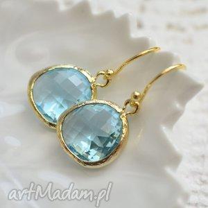 kolczyki aqua drops in gold, wiszące, delikatne, subtelene, kryształ, złoto
