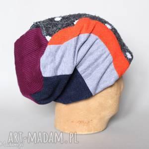 ręcznie wykonane czapki ciepła czapka na podszewce szyta patchworkowo