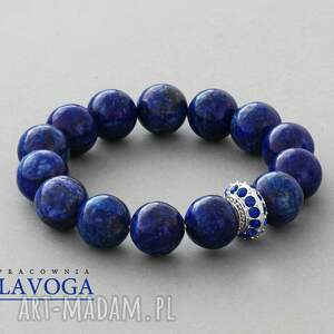 Marble with crystal bead in cobalt. - ,marmur,kobalt,koralik,kryształek,