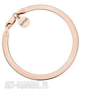 bransoletka snake z różowego złota - pozłacana, płaska