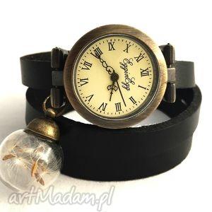 nasiona dmuchawca - zegarek/bransoletka na skórzanym pasku, zegarek, bransoletka