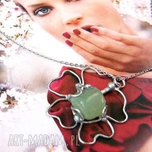 handmade naszyjniki naszyjnik: kwiatek z nefrytem