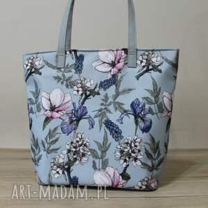 na ramię shopper bag bucket - irysy vintage, kwiaty, irysy, elegancka