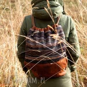 Plecak vegan navaho koniak, vegan, boho, bohemian, jesień, worek, plecak