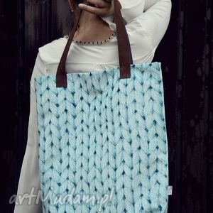 na ramię torba mr m wool turkus uszy skóra naturalna, torba, wełna, warkocz