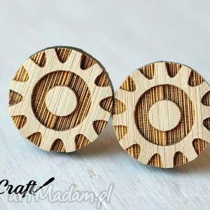 drewniane spinki do mankietów kółko zębate, spinki, mankiety, kółko