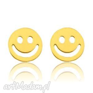 ZŁOTE KOLCZYKI Z UŚMIECHEM - ,kolczyki,sztyfty,buźka,złoto,delikatne,uśmiech,