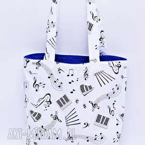 Torba muzyczna na zakupy Shopperka nuty muzyka instrument niebieska podszewka, torba