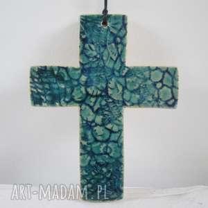 unikatowy krzyżyk ceramiczny, krzyż, na ścianę, chrzciny, dewocjonalia