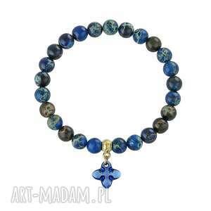 caesar - navy blue with cross, jaspis, swarovski biżuteria