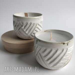 ceramika zestaw dwóch świec o delikatnym zapachu 2, prezent, użytkowa