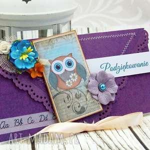ręczne wykonanie scrapbooking kartki kartka kopertówka- podziękowanie w fioletach