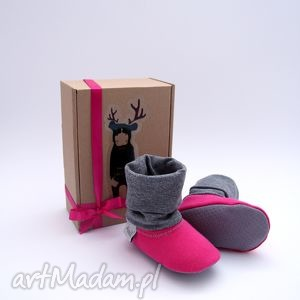 bambosze z golfem / hand made ciemny róż, papcie, prezent, abs, bawełna, szary