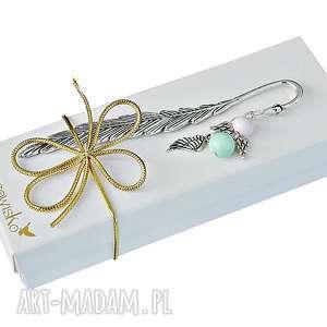 anioł róż i mięta -zakładka w pudełku, zakładka, prezent, pomysł na prezent
