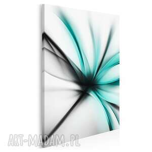 obraz na płótnie - abstrakcja kwiat nowoczesny turkus w pionie 50x70