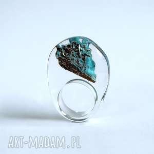 sylwiacalus pierścionek z minerałem, hemimorfit, żywica, minerał, prezent