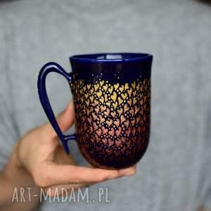 kubki kubek ręcznie malowany złote serduszka, kubek, ceramiczny, ceramika