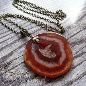 wisiorek z agatem druza pomarańczowy, wisior, kamień, agat, druza, naszyjnik