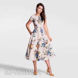 sukienki sukienka klara total midi gardenia, sukienka, midi, rozkloszowana