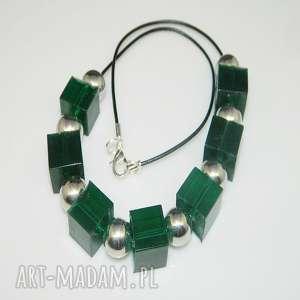 zielone kostki-N51, naszyjnik, żywica, zielona-żywica, unikatowa-biżuteria