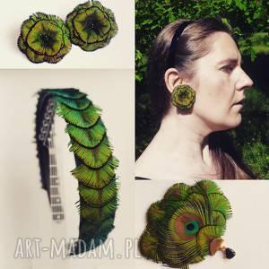 blanka atelier opaska z pawich piór w kolorach zieleni, opaska, boho, hippie
