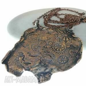 miedziany wisior-kobieca twarz, wisior, biżuteria autorska, miedziana