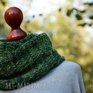 Komin melanżowy zielony, komin, melanż, melanżowy, wełna, ciepły, miękki