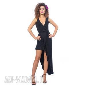 sukienki elena black night, falbana, elastyczna, asymetryczna