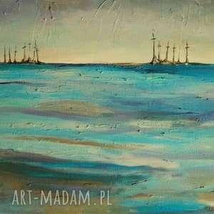 obrazy obraz na płótnie - abstrakcja morzu 30/24 cm, morze, turkus, bialy, akryl