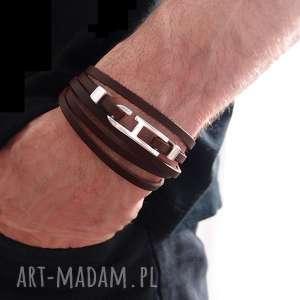 handmade męska bransoletka skórzana serkan / skóra - rzemienie