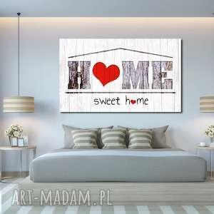 obraz duże home sweet 05 -120x70cm na płótnie szary biały czerwony