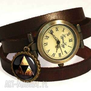 zelda triforce - zegarek bransoletka na skórzanym pasku, fantasy