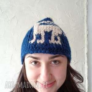 limochka piękna autorska czapka - renifer, wełna, unikat, ręczniewykonana