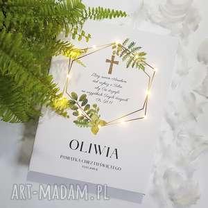 PAMIĄTKA CHRZTU obraz LED złoty krzyż liście paproć styl rustykalny prezent na