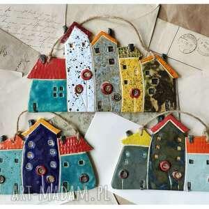 komplet 3 kolorowych kamienic, ceramika, domki, kamienica, kwiaty, maki
