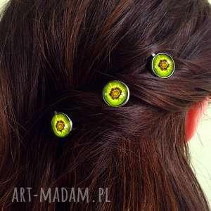 kiwi - 3 wsuwki do włosów, kiwi, owocowe, wsuwki, spinki