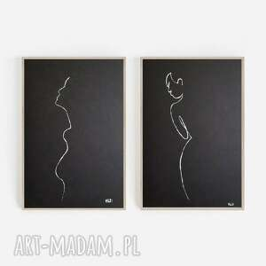 minimalizm - dwie prace wykonane białym tuszem, abstrakcja, tusz
